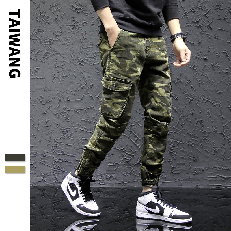 2019 Spring Europe And America New Style Loose Bib Overall Men's Popular Brand Camouflage Bags Harem Pants Youth Ankle Banded Pa