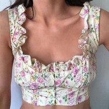 Corset Tops Tank-Top Floral-Crop-Top Newasia Cropped Ruffles Boned Women Summer Square-Collar