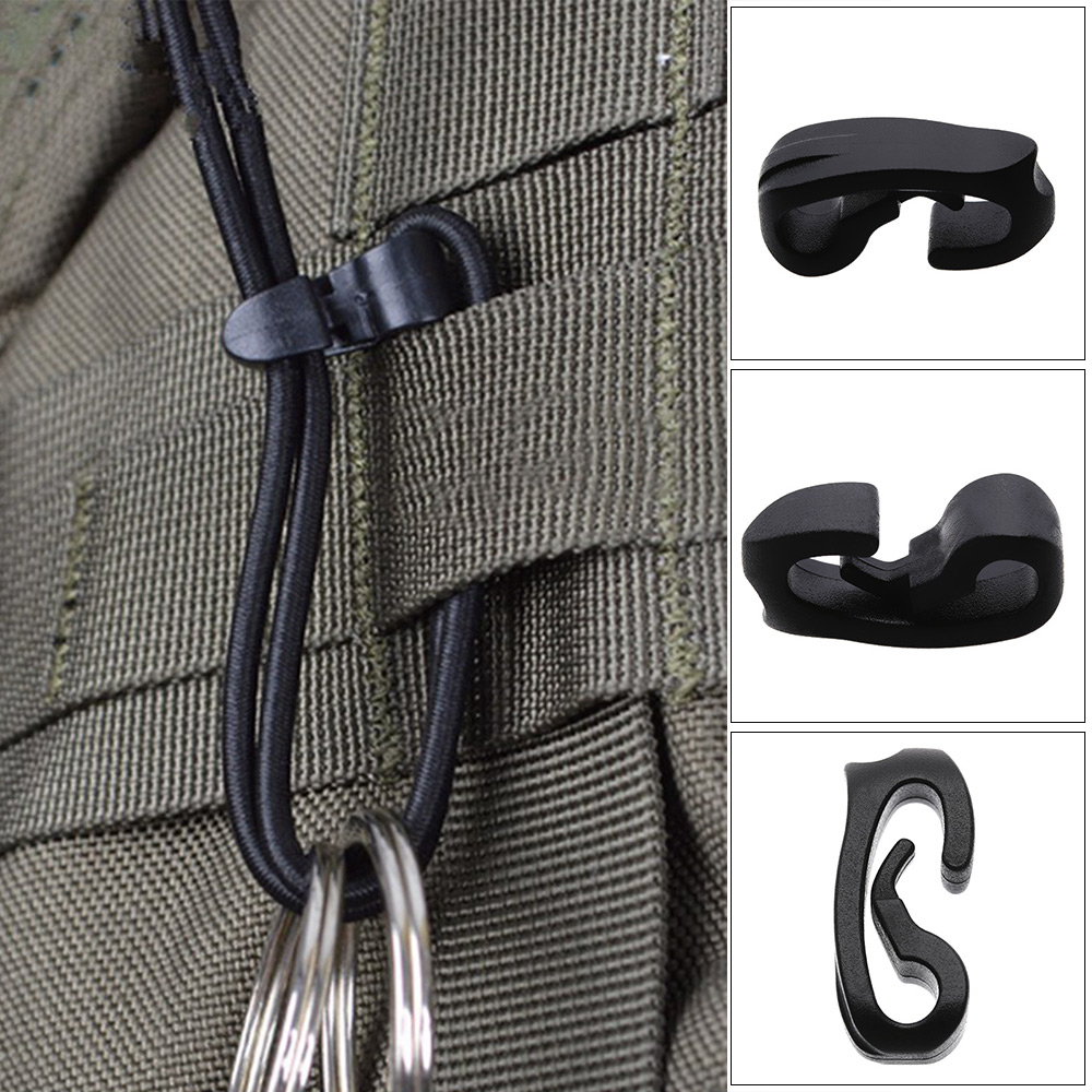 5PCS Outdoor External Strapping Plastic Hook Rope Buckles Elastic Rope Cord Bungee Ties With Hook Camping Backpack Bag Parts