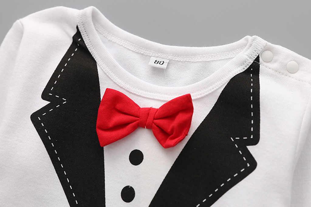 Dżentelmen z długim rękawem dla chłopców zestaw białe i czarne pajacyki dla maluchów chłopcy moda dla dzieci noworodek chłopięcy kombinezon jednoczęściowy dla niemowląt 1-2T