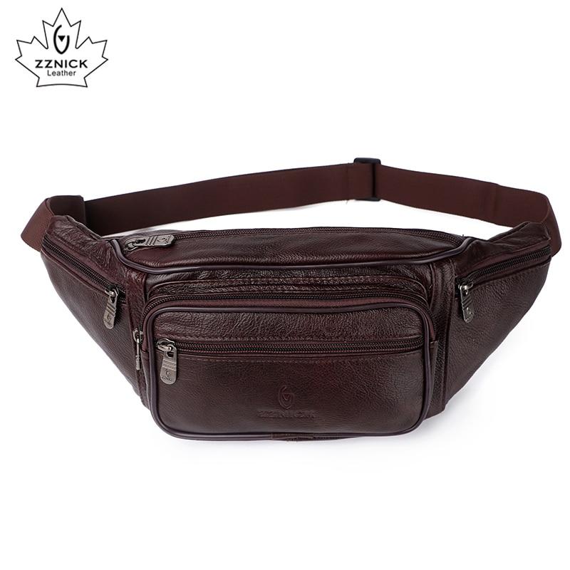 Image 2 - ZZNICK, 2020 натуральная кожа, Мужские поясные сумки, поясная сумка, сумка для телефона, сумки для путешествий, поясная сумка, Мужская маленькая поясная сумкаПоясные сумки   -