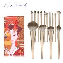 BELÄDT 14PCS Make-Up Pinsel Set Foundation Rouge Pulver Pinsel Lidschatten Blending Machen up Kits Kosmetische Werkzeuge Gold mit Beutel