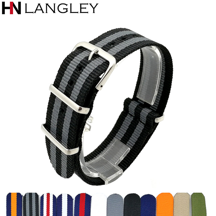 <font><b>18mm</b></font> 20mm 22mm Army Green Sports <font><b>NATO</b></font> <font><b>Strap</b></font> Fabric Nylon Watch band Steel Buckle Belt for 007 ZULU Watch Bands Colorful Rainbow image
