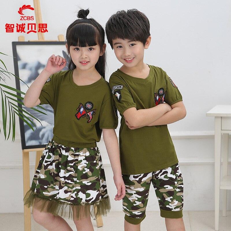 Childrenswear Summer Wear Camouflage Set Business Attire Kindergarten Suit Young STUDENT'S School Uniform Sportswear