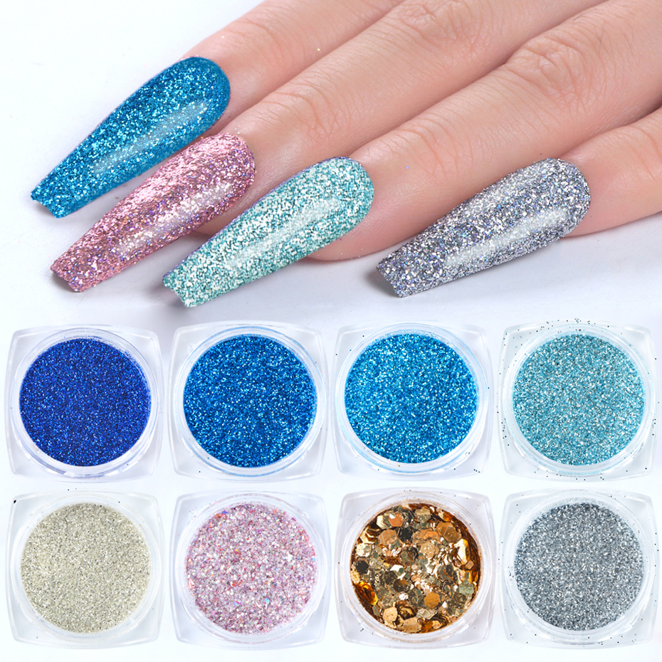 6pcs Holographic Nail Glitter Gradient Bule Nail Mirror Sequins Laser Dipping Powder Chrome Flake Nail Art Decoration SA1539-22