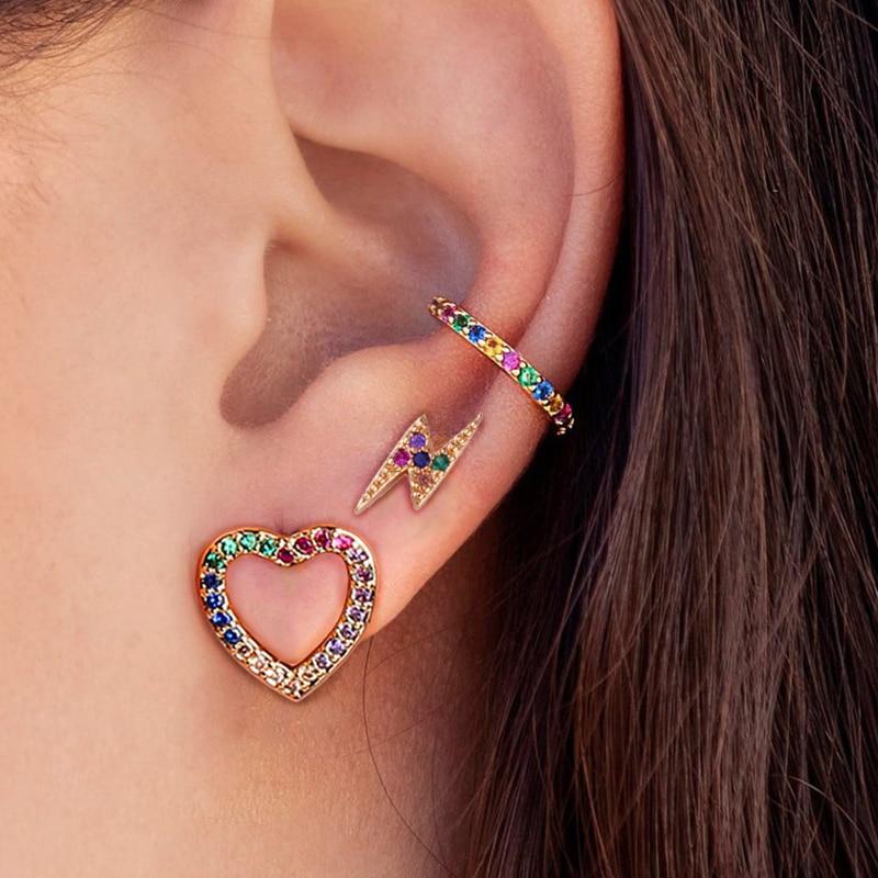 1 Pair Fashion Rainbow CZ Zircon Love Heart Stud Earrings For Women Girls Multicolor Crystal Lightning Earrings Party Jewelry