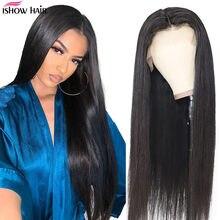Ishow prosto koronki przodu peruki dla kobiet 24/26 Cal peruki 150% gęstości 13X4/13X6 malezyjski prosto koronki przodu włosów ludzkich peruk