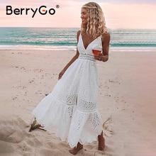 BerryGo Vestido largo de algodón con perlas blancas para mujer, vestidos bordados, vestido de noche, fiesta, 2019