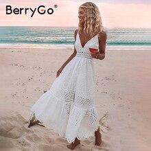 BerryGo z białymi perłami sexy kobiety letnia sukienka 2019 Hollow out haft maxi sukienka bawełniana wieczór party długie panie vestidos