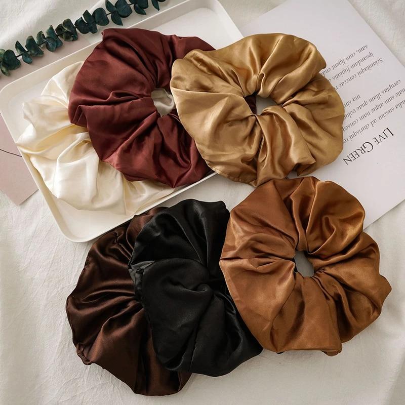 Silk Scrunchies Hair Ties Big Scrunchy Hair Bands Elastic Women Hair Accessories