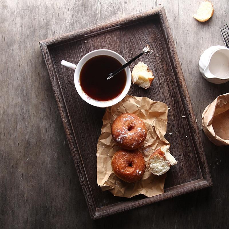 Creativas bandejas para té de madera Rectangular bandejas de madera sólida bandeja de almacenamiento de cocina hogareña bandeja de comida para almacenamiento de artículos del hogar Organizador de cajas y cajones, bandejas para almacenamiento en el hogar y la Oficina, cubertería, armario, caja de escritorio, cajón, bandeja organizadora, cubertería, papelería
