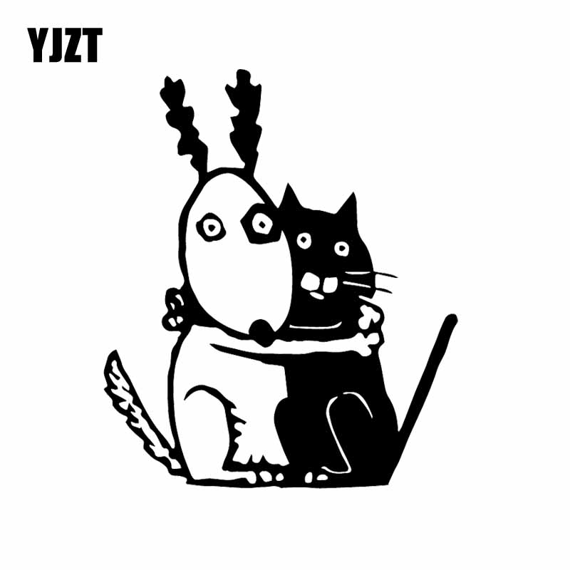 Yjzt 13 5x16cm Car Sticker Vinyl Decal Funny Dog And Cat Scary