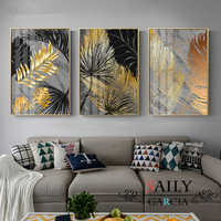 Abstract Marble Gold Leaf Plant Canvas Painting Nordic Scandinavian Decor Posters and Prints Wall Art Picture for Living Room