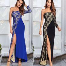 купить Women Party Dress Sexy Lace Black One-shoulder Elegant Long Dresses Nightclub Female Vestidos Cut Out Bodycon Split Maxi Dress дешево