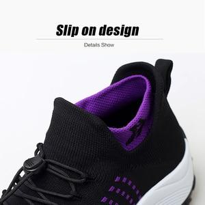 Image 4 - 2019 printemps femmes baskets légères à lacets chaussures plates plate forme compensée chaussette chaussures femme respirant maille Tenis Sapatos Feminino 1855