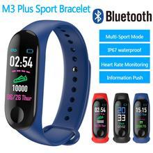 цена на M3plus Smart Wristband Blood Pressure Smart Bracelet M3 Plus Heart Rate Waterproof Fitness Tracker Bluetooth Smart Watch