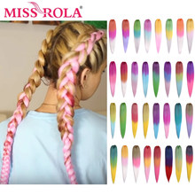 Miss Rola 75g 26 pulgadas Kanekalon al por mayor del pelo de la trenza sintética de la extensión del pelo Pre estirado Rosa rubia giro trenza Jumbo