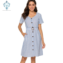 CUERLY New elegant dress women Office Lady sexy dresses 2019 fashion Striped splicing short sleeve V-neck mid-length vestidos
