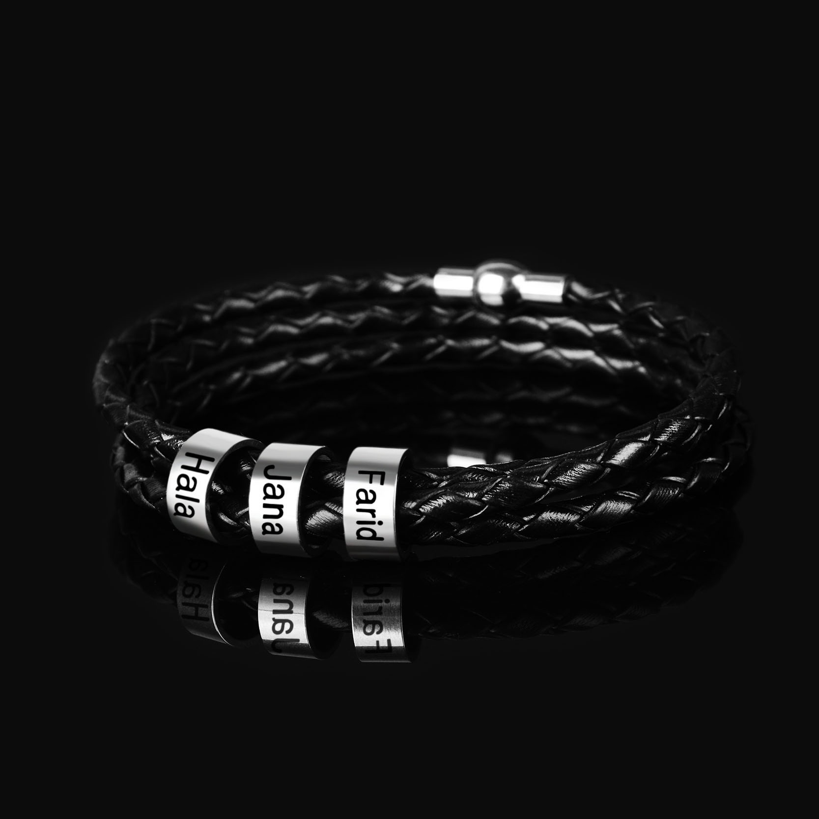 Personalized Stainless Steel Charm Bracelets Genuine Leather Braided Rope Men Bracelet Custom With 1-9 Names Beads Jewelry Gift