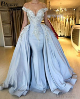 Sky Blue Mermaid Muslim Evening Dress 2020 Beaded Flowers Off Shoulder V Neck Sexy Evening Gown Abiye Formal Dress Party Vestido