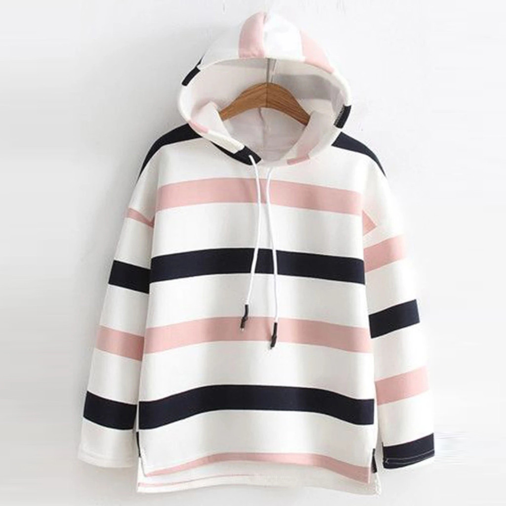 Autumn Winter Striped Hoodies Women Sweatshirt Long-Sleeve Casual Hooded Pullover Ladies Sweatshirt Hoodies sudadera mujer 2020