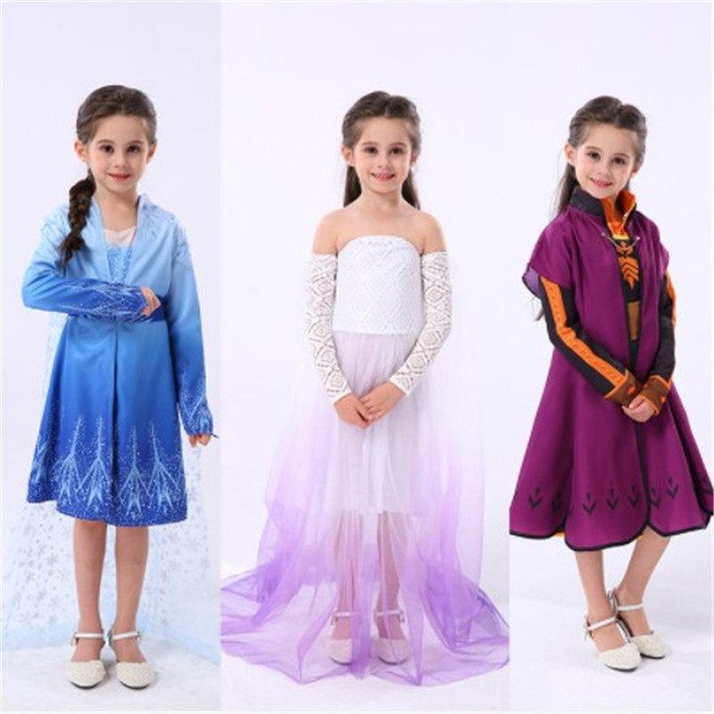 Snow Queen cosplay Elsa <font><b>Frozen</b></font> <font><b>2</b></font> <font><b>Anna</b></font> children Anime Multiple full set dress Halloween kids party costumes and <font><b>wig</b></font> accessories image