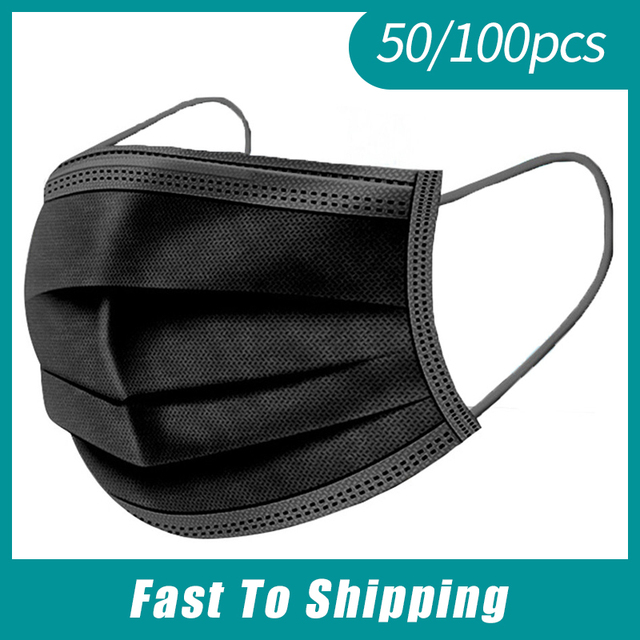 10-500 pcs Black Disposable Masks 3 Layer Non-woven Face Mask Anti-dust Protective Mouth Caps Anti-pollution Masks mascarillas