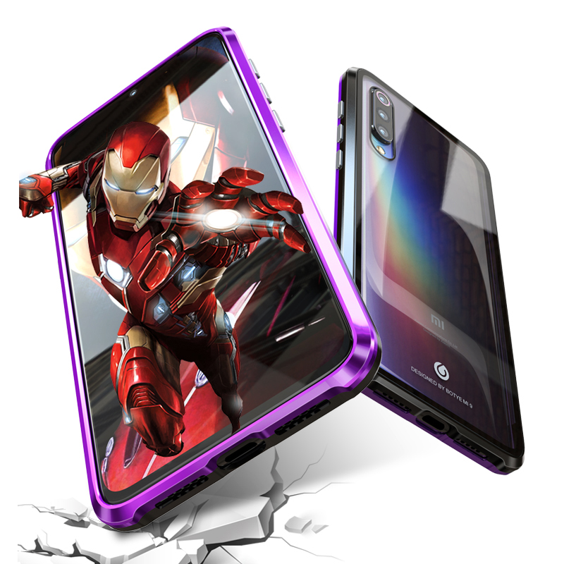 Magnetic Metal Bumper Case Xiaomi Mi9 Case Xiaomi Mi 9 se Transparent Clear Glass Back Cover For Xiami Xiaomi Mi 9 Cases Armor in Fitted Cases from Cellphones Telecommunications