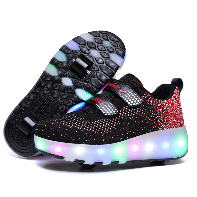 Children Two Wheels Luminous Glowing Sneakers Black Red Pink Led Light Roller Skate Shoes Kids Led Shoes Boys Girls USB Charging