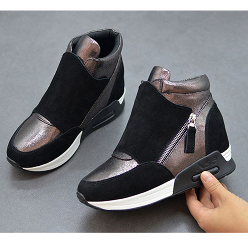 Suede Leather Sneakers Women Platform Shoes 2021 Fashion Ins Women Sneakers Height Increasing Shoes Woman Casual Shoes N011