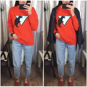 Image 3 - Fall Winter Women Sweater Thick Warm Animal Pattern O Neck Long Sleeve Orange Fashion Knitted Pullovers Casual Top C 306