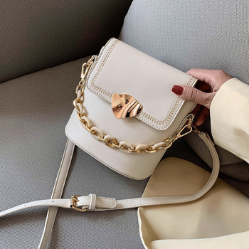 Embroidery Thread Solid Color Simple Bucket Bag PU Leather Crossbody Bags For Women 2020 Summer Travel Mini Shoulder Handbags