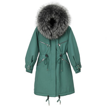 цены Woman's Coat Winter Faux-Wool liner Cotton Coat Medium And Long Hooded Coat woman Thick Warm Zipper Button Placket Parka Women