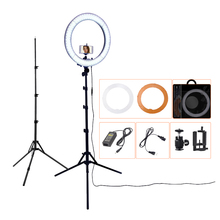 FOSOTO RL-18 photography lighting Dimmable 55W 5500K Ring Lamp Camera Photo Studio Phone Video Led Ring Light With Tripod Stand fosoto fd 480ii dimmable bi color 18 96w camera photo video photography led ring light lamp with lcd screen tripod stand mirror