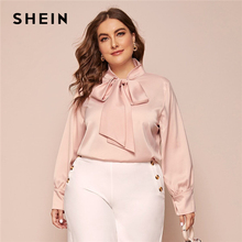 SHEIN de talla grande Rosa pajarita cuello sólido blusa superior para mujer otoño manga de obispo primavera elegante Oficina señora Plus blusas