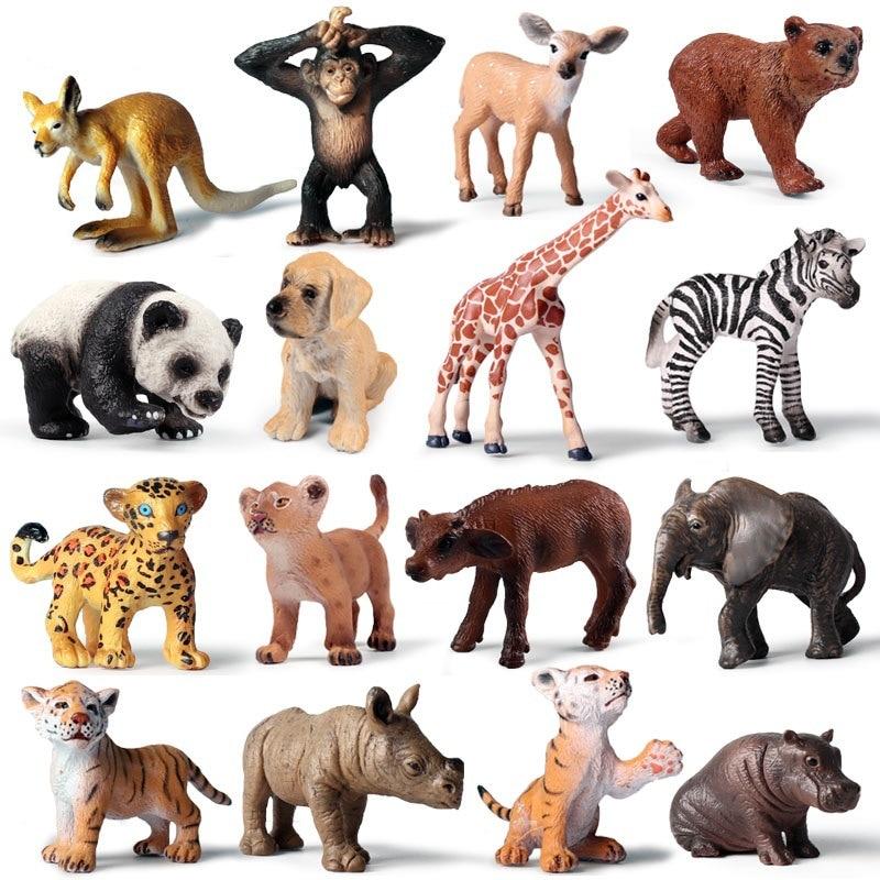 1Pcs Mini Wild Zoo Farm African Savanna Lion Animal King Bird Series Leopard Cat Panther Jaguar Model Toy For Chidlren Kids Gift
