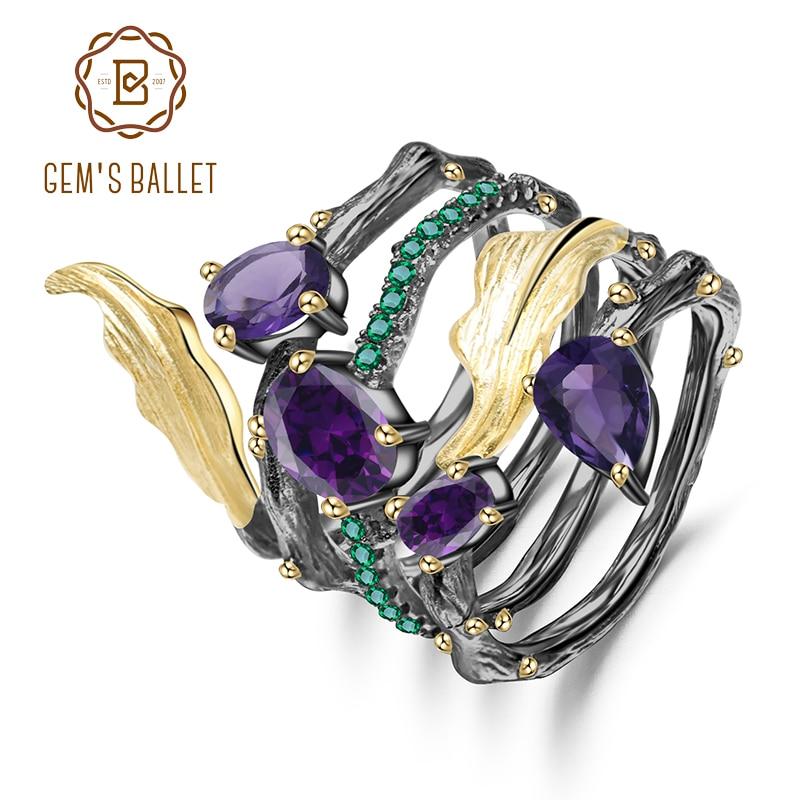 GEM'S BALLET 2.26Ct Natural Amethyst Gemstone Finger Ring 925 Sterling Sliver Vintage Neo-Gothic Rings For Women Fine Jewelry
