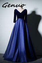 Genuo 2019 Sexy Maxi Dresses Women Elegant Long Sleeve Backless Evening Party Gown Long Dress Sky Blue Formal Dress Vestido sky blue half sleeve maxi dress