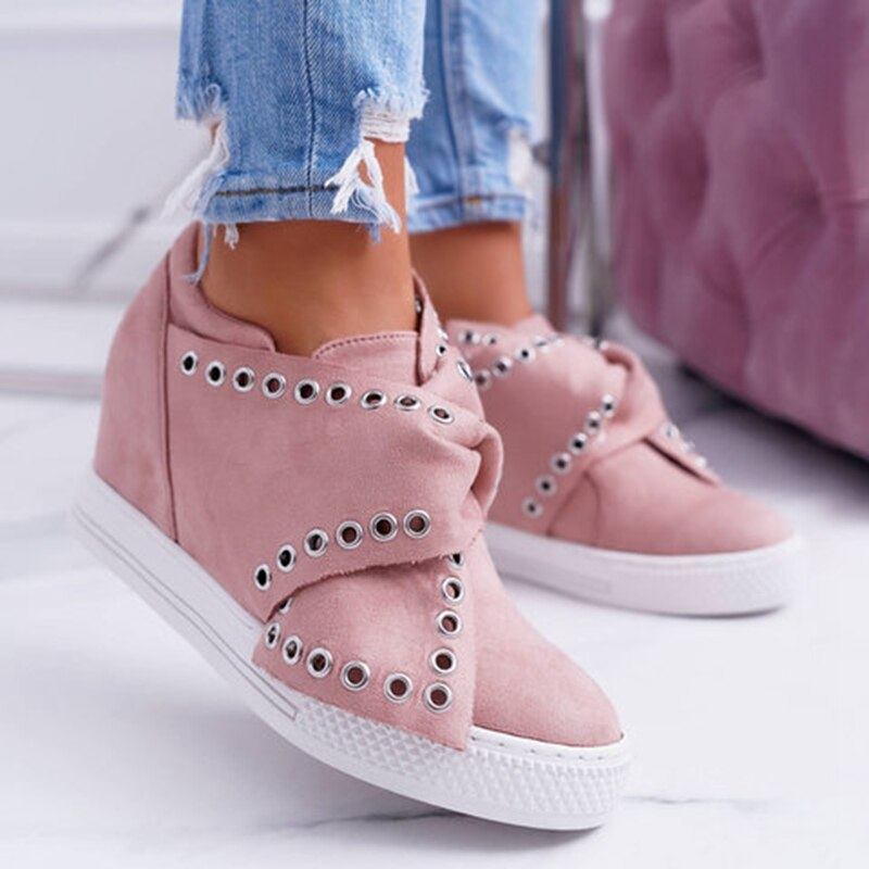 JODIMITTY Casual Flat Plus Size 43 Women Sneakers Ladies Suede Bow Tie Slip On  Vulcanized Shoes Female Footwear