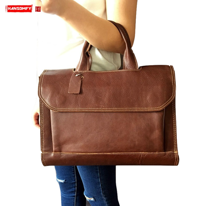 2019 New Genuine Leather Women's Briefcase Female 14 Inch Laptop Handbag Large-capacity Shoulder Bag Business Crossbody Bags