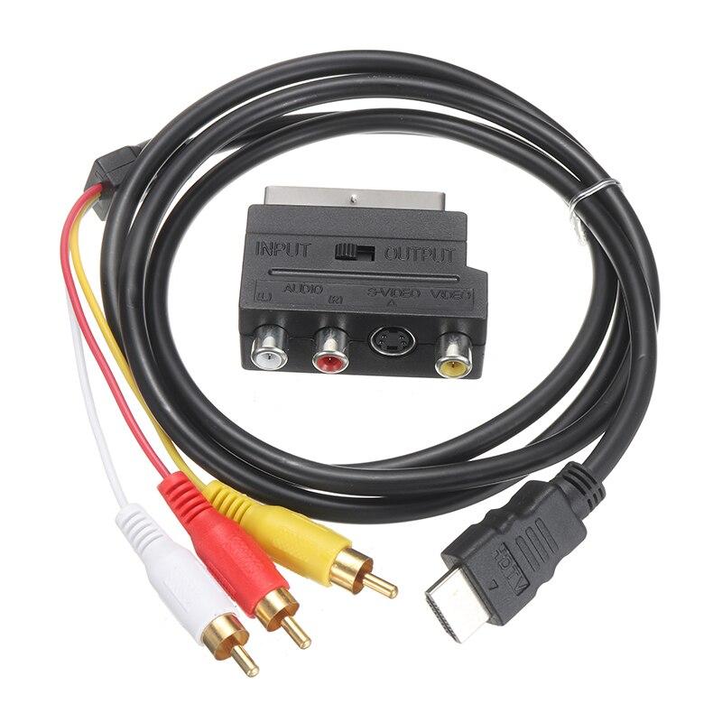 Аудиокабель 1080p HDMI с S-video на 3 RCA AV, черный с SCART на 3 RCA, аудиоразъем для проектора/DVD/TV