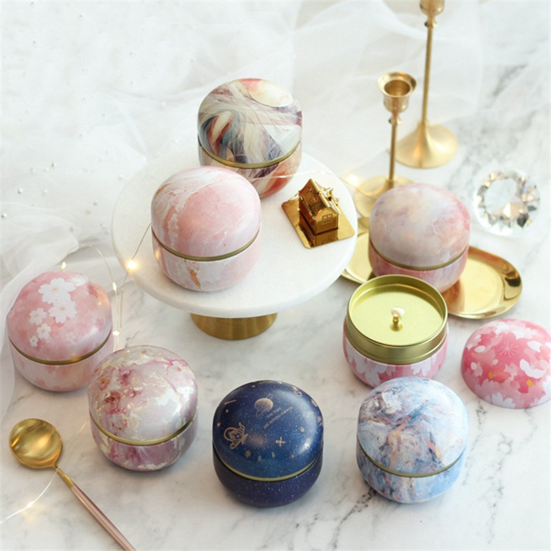 5/10pcs Marble Sakura Candy Box Round Iron Gift Boxes Wedding Birthday Scented Tea Candy Packing Box Party Favors Giveaway Gifts
