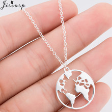 Jisensp Vintage Stainless Steel World Map Necklace for Women Men Geometric Jewelry Simple Round Necklaces & Pendants Travel Gift(China)