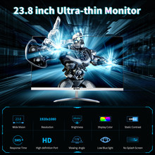 Уход за глазами монитор 23,8 дюймов Тонкий монитор HD 1080P IPS Экран 1920*1080 Разрешение 178 ° угол обзора низкая синий светильник вилка стандарта ЕС/С...