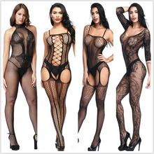 Sexy lingerie Teddies Bodysuits hot Erotic lingerie open crotch elasticity mesh