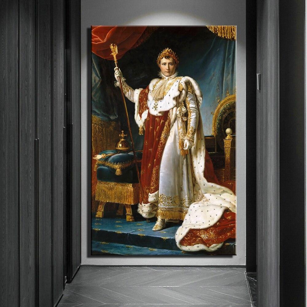 Peintures à lhuile classiques de napoléon   Portrait sur toile, imprimés dart, images murales de cour européenne, décor mural pour salon