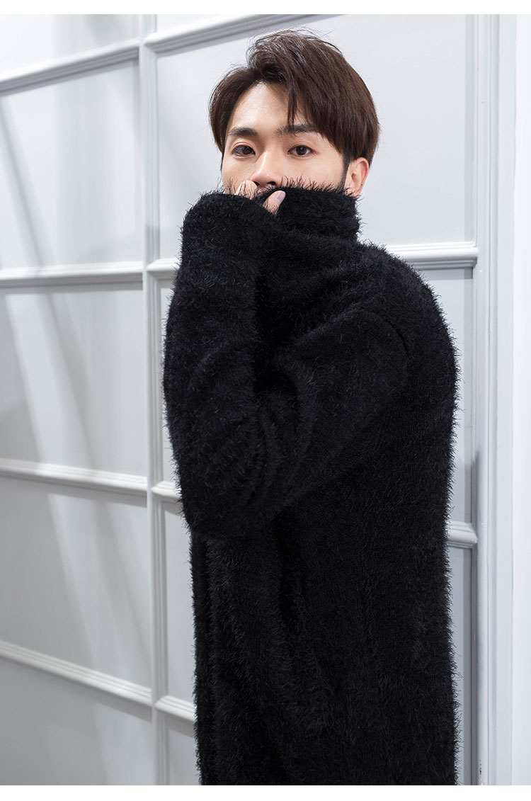 Plus-size Hipster Mohair Mid-length Sweater Coat Mohair Knit Cardigan Urban Fashion Korean Version Nightclub Man