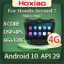 Hoxiao 6G + 128G 9 pouces voiture Android 10 2 Din voiture vidéo Radio Quad Core WIFI GPS Bluetooth multimédia pour Honda Accord 7 2003-2007