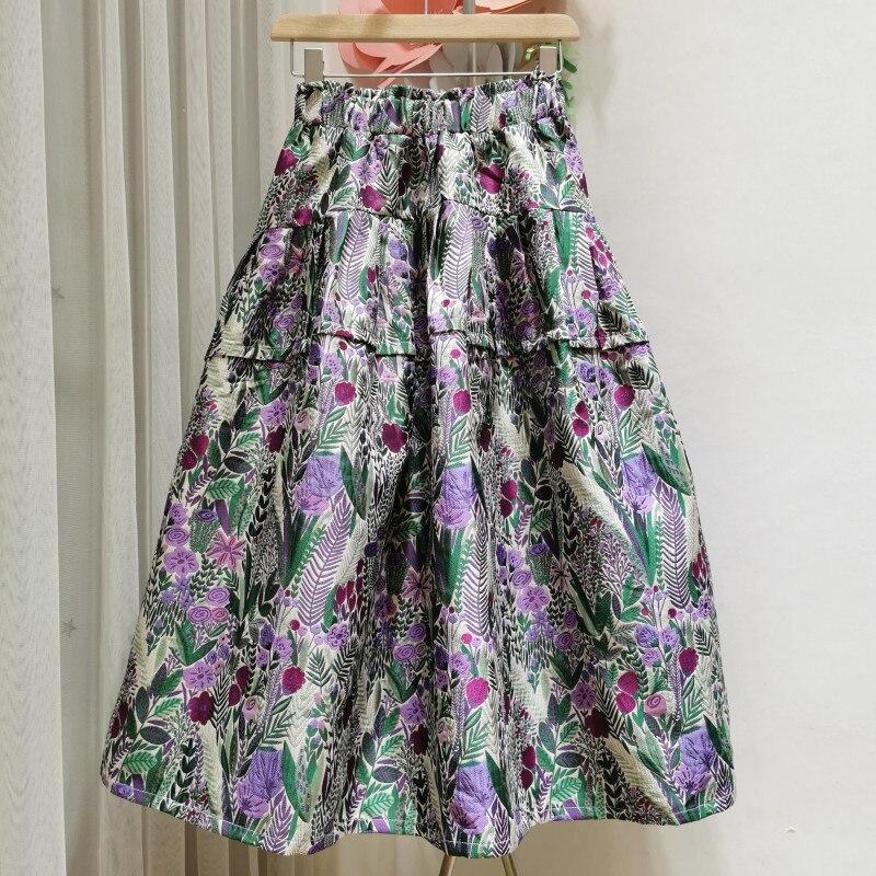 Casual Korean Spring Summer Beach Boho Vintage Purple Flower Print Puffy Bud Skirt Female Elastic High Waist Skirt Women Clothes