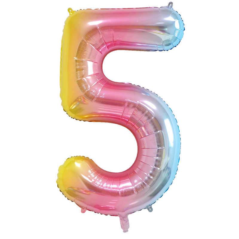 16/32/40 дюймов количество Фольга шар большой витраж, розовое цвета: золотистый, серебристый воздушные шары в форме цифр День Рождения Декор для детей Baby Shower поставки